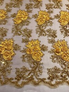 """Yellow Gold Embroidered Sequins Fabric 50"""" Width Sold By The Yard"""