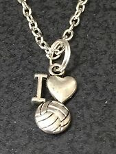 """I Love Volleyball Charm Tibetan Silver with 18"""" Necklace F109"""