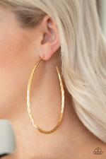 "Paparazzi jewelry rippling gold bar dramatic asymmetrical hoop 3"" earrings"