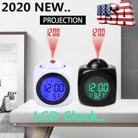 LED Digital Voice Projection Alarm Time Clock Snooze Thermometer LCD Display HOT