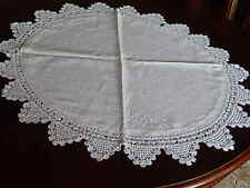 """ANTIQUE Linen and Crochet Lace ROUND Table Topper Winter White Doily 30"""" Across"""