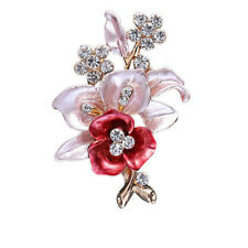Elegant Women Drip Crystal Flower Brooches Pins Romantic Brooches Jewelry Gift