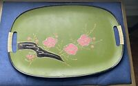 Mid Century Japan Serving Tray Green Handled Hand Painted Pink Flower Dogwood