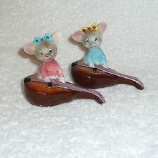 Vintage Anthropomorphic PY Japan Mouse Violin Mice Guitar Salt Pepper Shakers