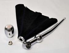 JDM Chrome Gear Knob w/ Short Shifter & Blue Stitch Suede Shift Boot