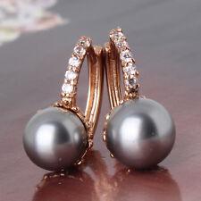 HUCHE Vintage Black Pearl 18k Yellow Gold Filled Women Jewelry Earrings Studs
