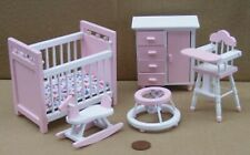 1:12 Scale 5 Piece Pink & White Nursery Set Dolls House Miniature Bedroom 1538