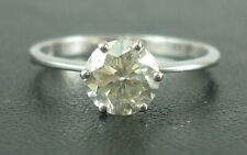 Real 18k White Gold 1.21 Ct Round Cut Diamond Solitaire Engagement Ring For Her