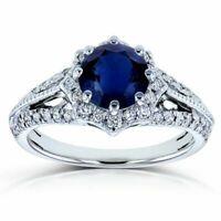 5ct Round Cut Blue Sapphire Diamond Halo Engagement Ring 14k White Gold Finish