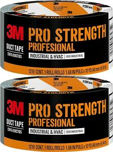 3M Pro Strength Duct Tape Industrial HVAC 1.88 inches by 10 yards, 1210-A 2 Roll