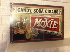 """Candy Soda Cigars"" ""Drink Moxie"" New Aluminum 12""x 18"" Bar/Den/Garage Sign"