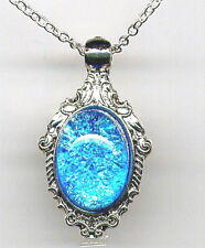 Breath Necklace *Sterling Silver Chain Aquamarine Blue Fire Opal Crystal Dragons