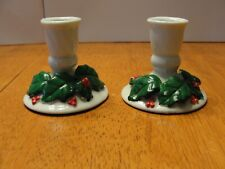 "Vintage Pair Lot of 2 Ceramic Christmas Candle Stick Holders 2.5"" tall"