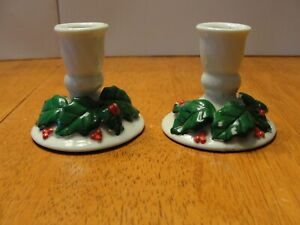 """Vintage Pair Lot of 2 Ceramic Christmas Candle Stick Holders 2.5"""" tall"""