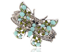 Silver Sea Foam Blue Bead Peridot Crystal Rhinestone Butterfly Bangle Cuff