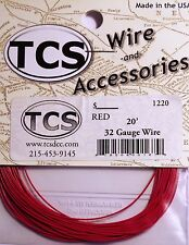 "Wire 32awg 20 foot Red, 18 strand wire outside diameter 0.022"" (.559cm)"