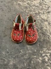 Kickers by Vera Pelle Red Patent Leather Bone White Polkadots Size 20 (4.5 US)