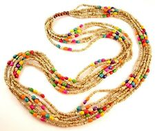 1 Beige Multi Strand Mixed Colour Wood Beaded Statement Necklace - # B170