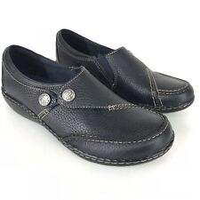 Clarks Navy 7 Narrow Ashland Lane Pebbled Leather Slip On Shoes