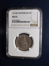 1912B Switzerland Two Francs NGC AU53 2F SILVER Coin PRICED TO SELL NOW!