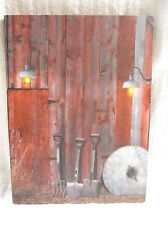Barn Tools Lighted Canvas Wall Decor Sign