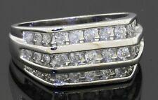 Heavy 14K white gold 1.65CTW diamond cluster triple row men's ring size 9.5
