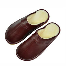 Genuine Leather House Slippers Men Women Unisex Winter Warm Flat Shoes Indoor