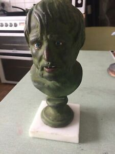 Bronze/brass Bust of Roman Seneca Tutor Of Nero Marble Base