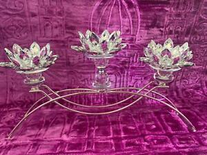 New Antique Style Candle Holder with Stand Set of 3 in Crystal Clear
