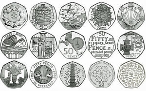 UK 50p PROOF ENGLISH DECIMAL FIFTY PENCE COINS CHOICE OF DATE 1971-2017