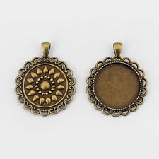 5 Antique Bronze Lace Edge 30mm Round Cameo Cabochon Setting Pendant Trays Blank
