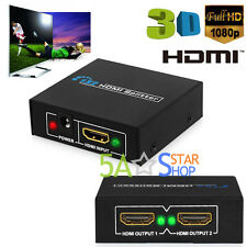 2 Way Hdmi Splitter 1 in 2 out 1080P Full HD Switch Box Hub for 3D HDTV SKY PS4
