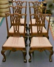 Antique CHIPPENDALE STYLE Mahogany SIDE CHAIRS. Original Upholstery. T=6. 1870