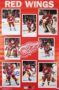 Vintage 1988 DETROIT RED WINGS 34 x 22 NHL Starline Collage Poster RARE