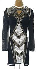 Karen Millen 10 UK Black Gold Geometric Embroidered Tribal Cocktail Shift Dress