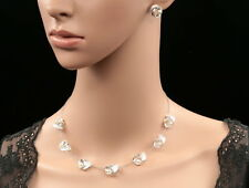 Accessory9 white ribbon chain collar necklace silver plated stud earrings N89