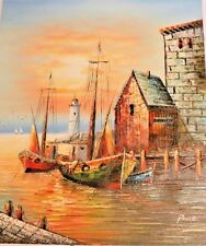 Signed Original Art Lighthouse Sailboat Fishing Harbor Oil Painting On Canvas