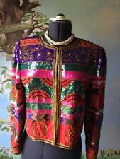 Vintage 1970's Leslie Fay Jacket Evenings Beads Sequins 100% Silk Size M