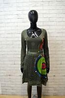 DESIGUAL Donna Vestito Taglia M Abito Verde Manica Lunga Tubino Dress Women Slim
