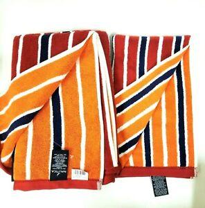 NAUTICA OSCEOLA 2 PC SET RED,WHITE,NAVY,ORANGE STRIPE 2 SIDED BATH+HAND TOWEL