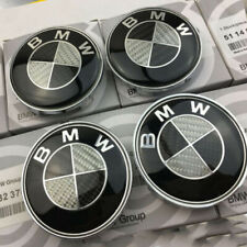 4X Carbon Fiber For BMW Emblem Logo Badge Hub Wheel Rim Center Cap Black 68mm