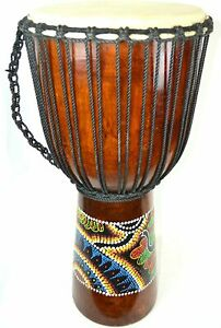 "12"" DJEMBE DRUM BONGO HAND CARVED AFRICAN ABORIGINAL DOT ART MUSICAL INSTRUMENT"