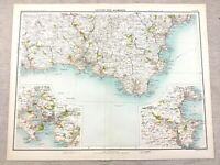 1890 Mappa Antica Di Plymouth Devon Tor Bay 19th Secolo Originale