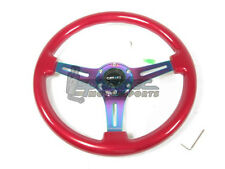 NRG Classic Wood Grain Steering Wheel 350mm Red with 3 Spoke Center In Neochrome