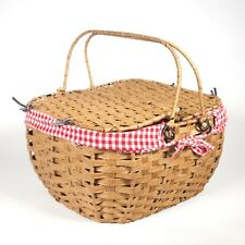 Antique/Vintage Wicker Picnic Basket with Red & White Checkered Gingham lining
