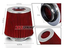 "3"" RED Performance High Flow Cold Air Intake Cone Replacement Dry Filter"