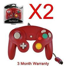 2X CONTROLLER FOR NINTENDO GAMECUBE GC & WII RED NEW