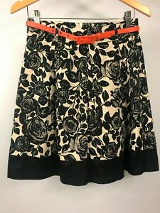 REVIEW size 10 NWOT's black and beige A-line lined skirt