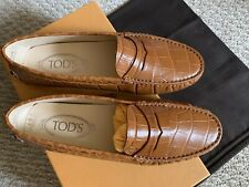 NIB Tod's Gommino Croc Effect Leather Driving Loafer Size 35.5 Orig.$496