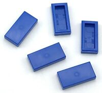 Lego 5 New Blue Tiles 1 x 2 with Groove Pieces Parts